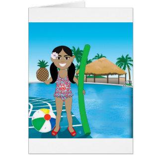 Hawaiian Pool Girl Greeting Card