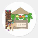 Hawaiian Pug at Tiki Bar Customisable Tees, Gifts Sticker