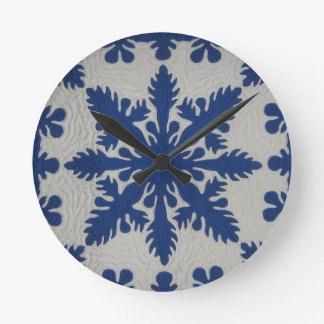 Hawaiian Quilt Blue Round Clock