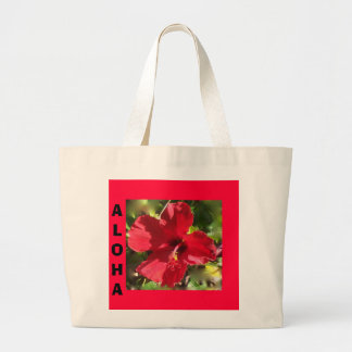 Hawaiian Red Hibiscus totebag Large Tote Bag