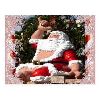 Hawaiian Santa Claus Christmas postcard