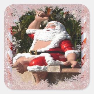 Hawaiian Santa Claus Christmas sticker Square Sticker