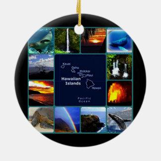 Hawaiian scenes collage christmas ornament