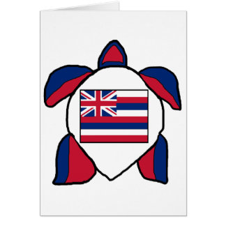 Hawaiian sea turtle flag card