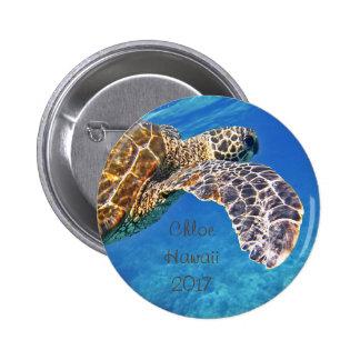 Hawaiian Sea turtle swimming 6 Cm Round Badge
