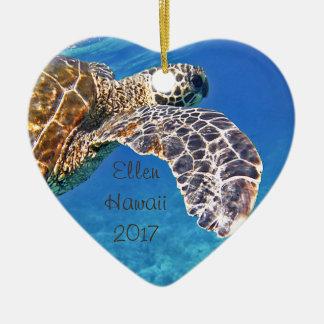 Hawaiian Sea turtle swimming Christmas Ornament