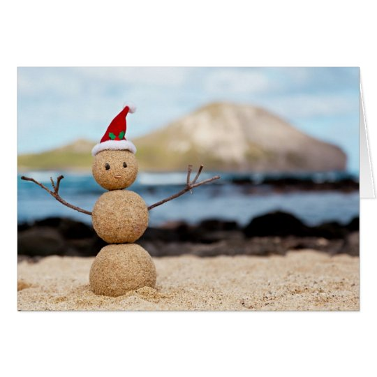 Hawaiian Snowman Christmas Card