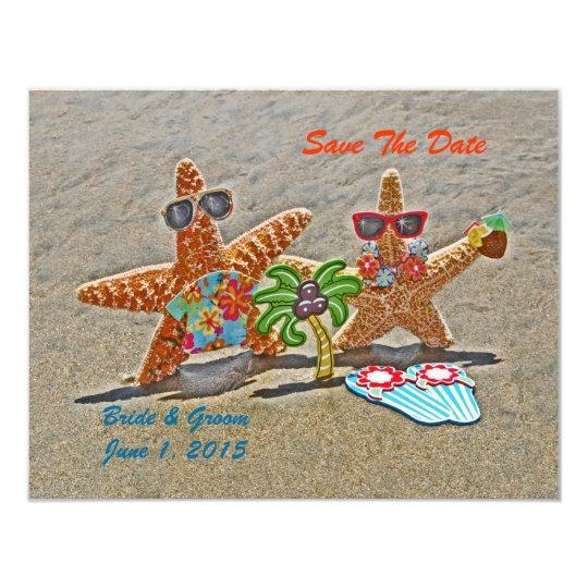 Hawaiian Starfish Couple Save The Date Cards