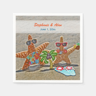 Hawaiian Starfish Couple Wedding Paper Napkins