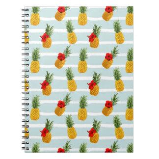 Hawaiian Summer Pineapple Seamless Pattern Notebook