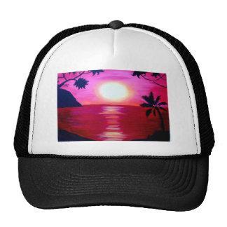 hawaiian sunset mesh hats