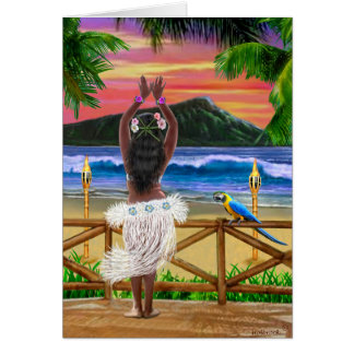 HAWAIIAN SUNSET HULA CARD