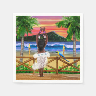 Hawaiian Sunset Hula Dancer Disposable Napkin