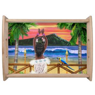 Hawaiian Sunset Hula Dancer Serving Tray