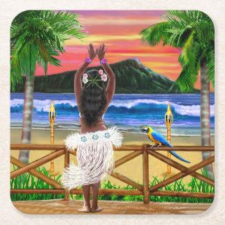 Hawaiian Sunset Hula Dancer Square Paper Coaster