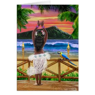 HAWAIIAN SUNSET HULA GREETING CARD