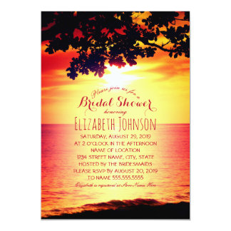 Hawaiian Sunset Tropical Tree Beach Bridal Shower Card