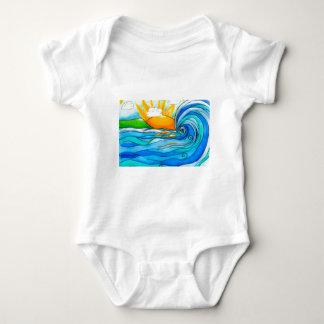 Hawaiian Surf Art - The Big Wave Baby Bodysuit