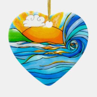 Hawaiian Surf Art - The Big Wave Christmas Ornament
