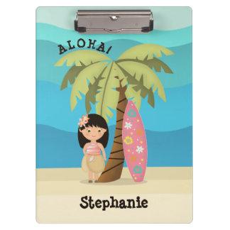 Hawaiian Surfer Girl Clipboard