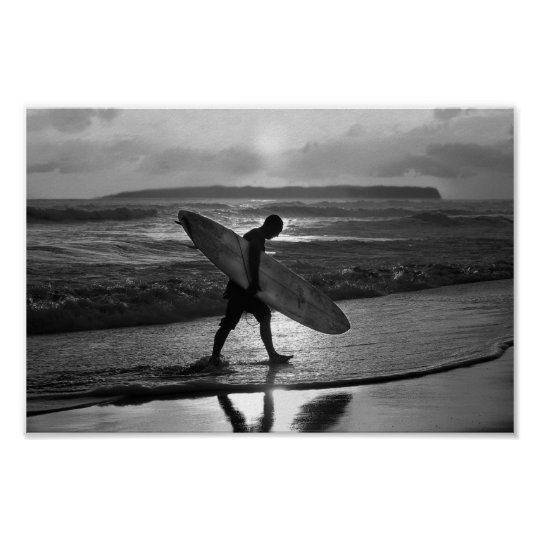 Hawaiian Surfer Heading Home, Black and White Poster