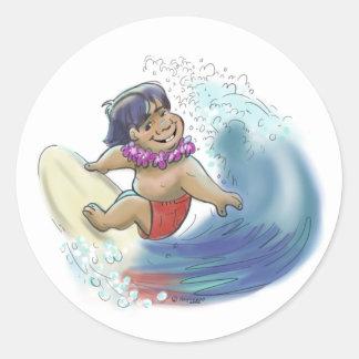 hawaiian surfer round sticker