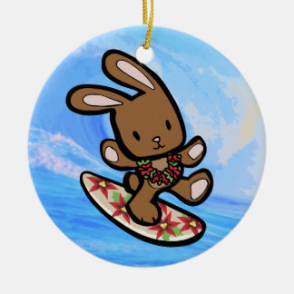 Hawaiian Surfing Bunny Holiday Cartoon Christmas Ornament