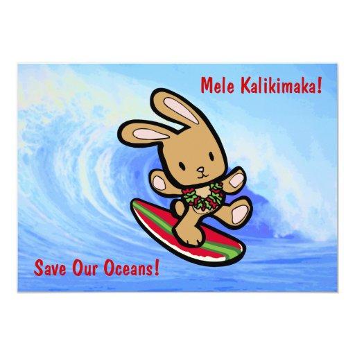 Hawaiian Surfing Bunny Holiday Cartoon 13 Cm X 18 Cm Invitation Card