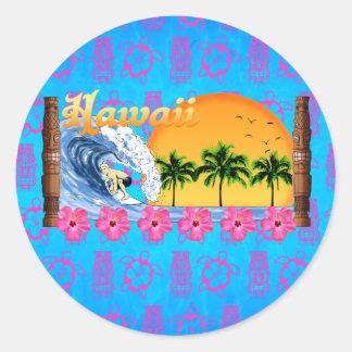 Hawaiian Surfing Classic Round Sticker