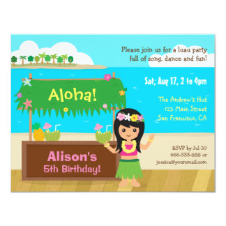 Hawaiian Themed Hula Girl Luau Birthday Party Card
