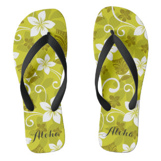 Hawaiian Tiki and Floral Flips Flip Flops