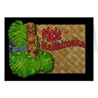 Hawaiian Tiki Lauhala Mele Kalikimaka Card