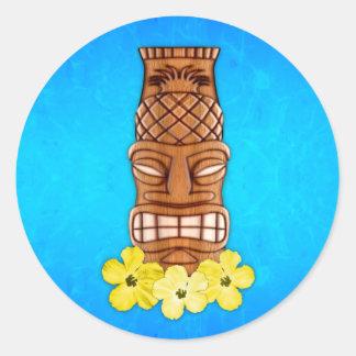 Hawaiian Tiki Mask Classic Round Sticker