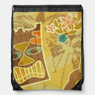 Hawaiian Tiki Mask Drawstring Bag