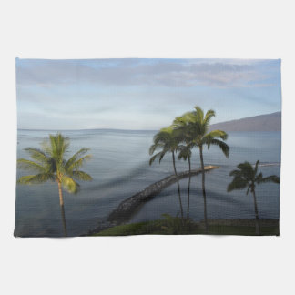 Hawaiian Tropical Beach Scene Kitchen Towels Blue