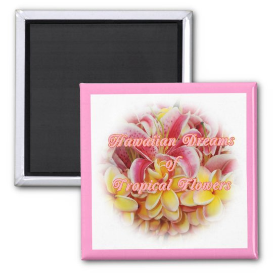 Hawaiian Tropical flower collection Square Magnet