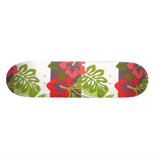 Hawaiian Tropical Island Hibiscus Flower Pattern 18.1 Cm Old School Skateboard Deck