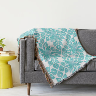 Hawaiian Tropical Leaves Aqua Watercolor Pattern Throw Blanket