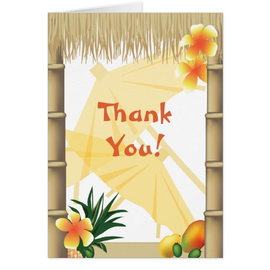 Hawaiian Tropical Luau Party Thank You Note Card