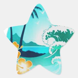 HAWAIIAN TROPICAL SURF ART STAR STICKER
