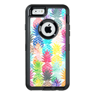 Hawaiian tropical watercolor pineapple pattern OtterBox defender iPhone case