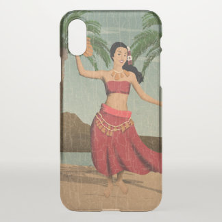 Hawaiian Vintage Hula Girl Distressed Postcard iPhone X Case