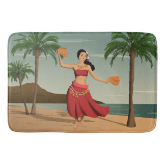 Hawaiian Vintage Hula Girl Postcard Bath Mat