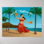 Hawaiian Vintage Mele Kalikimaka Postcard Poster