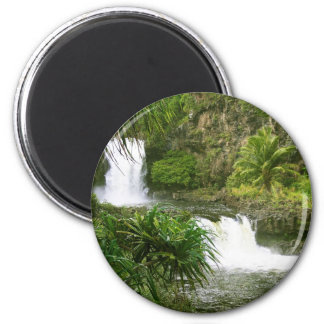 Hawaiian Waterfall 2 tiered 6 Cm Round Magnet