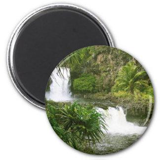 Hawaiian Waterfall 2 tiered Fridge Magnet