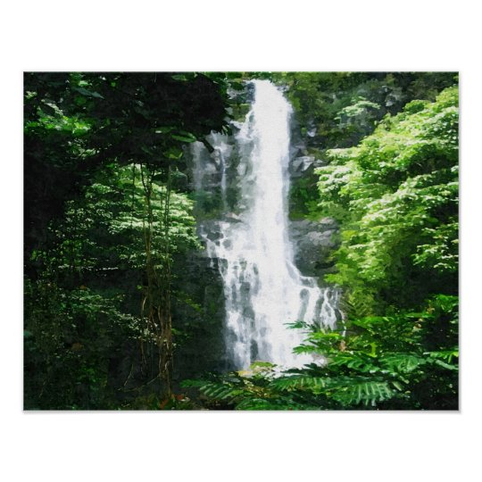 Hawaiian Waterfall-oil painting print