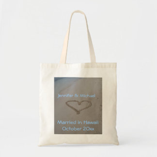 Hawaiian Wedding Heart in Sand Tote Bags