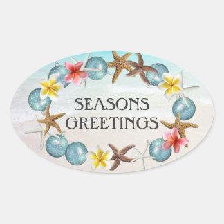 Hawaiian Wreath Oval Christmas Envelope Seal Oval Sticker