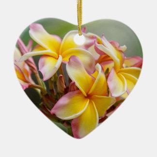 Hawaiian Yellow Plumeria Flower Christmas Ornament